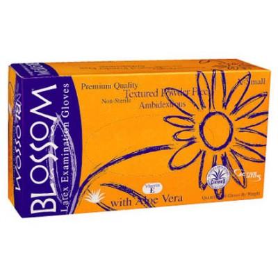 Blossom латексные перчатки с Алоэ Вера и витамином Е, 50 пар (фотография)