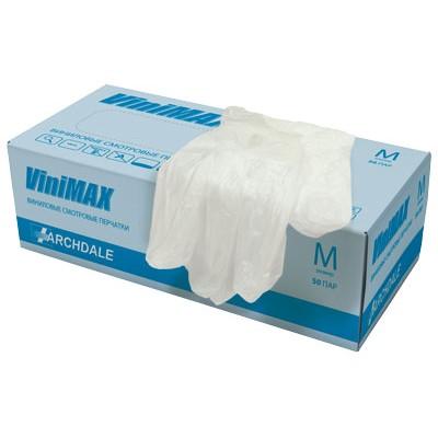 ViniMAX перчатки виниловые неопудренные нестерильные, 50 пар (фотография)