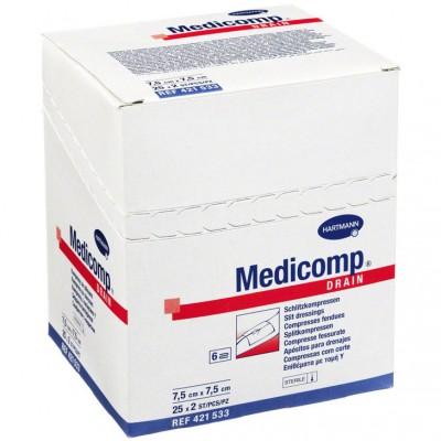 Медикомп дрейн салфетки с Y-образным вырезом 7,5 х 7,5 см, 50 шт. (фотография)