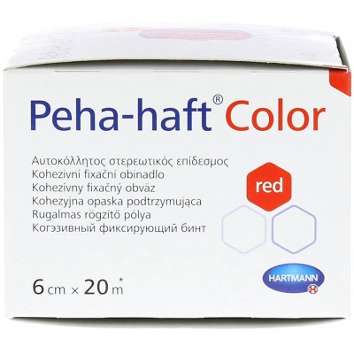 Бинт 20 м х 6 см Пеха-Хафт красный сбоку