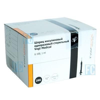 Vogt Medical инсулиновый шприц U-100 1 мл со съемной иглой 29G, 100 шт.
