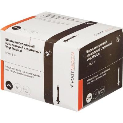 Инсулиновый шприц Vogt Medical U-100 1 мл с интегрированной иглой 29G, 100 шт.